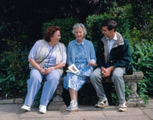 At Barnsley House with Rosemary Verey and my friend, Linda Cobb. May 25, 1998.