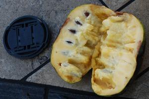 pawpaw fruit cut in half